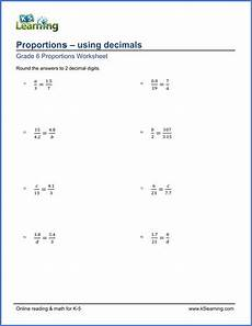 ratio worksheets with decimals grade 6 math worksheet solving proportions using
