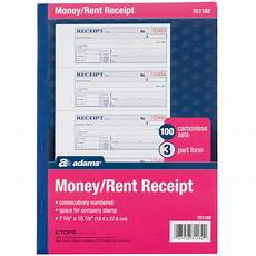 tc1182 3 part carbonless rent receipt book with 100 receipts