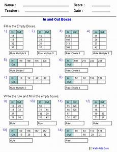 addition box worksheets 8793 function table worksheets printable math worksheets 8th grade math math patterns