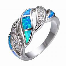 elegant blue fire opal cz wedding band ring 925 silver jewelry size 5 10 ebay