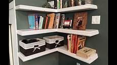 Floating Corner Bookshelves diy floating corner shelves