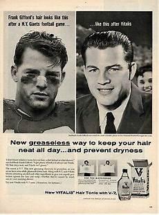 vitalis hair tonic vintage 1950 s original vintage vitalis hair tonic magazine ad featuring frank gifford ebay