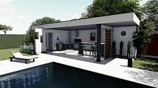 plan de jardin 3d piscine pool house