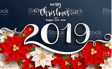 merry christmas and happy new year 2019 background beautiful flower paper cut art and craft