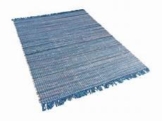 Teppich Kurzflor 140x200 - teppich blau baumwolle l 228 ufer vorlage wohnzimmerteppich