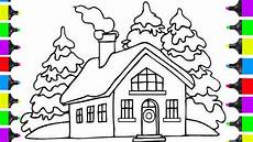 how to draw santa clause house coloring pages