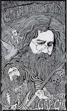 jerry garcia grateful dead black white art print by