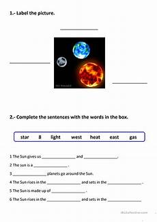 science worksheets earth sun moon 12190 the sun the earth and the moon esl worksheets for distance learning and physical