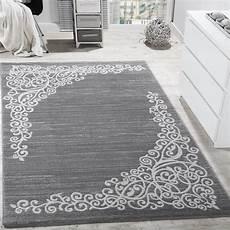 designer teppich mit floral muster glitzergarn grau wei 223