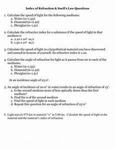 speed of light worksheet refraction worksheet 2