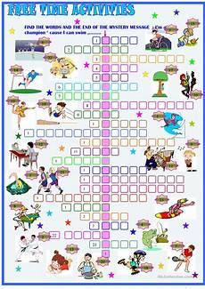 leisure time esl worksheets 3799 free time activities crossword puzzle worksheet free esl printable worksheets made by teachers