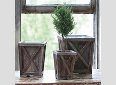 Wood Planters with Tin Liners, Set of 3   Antique Farmhouse