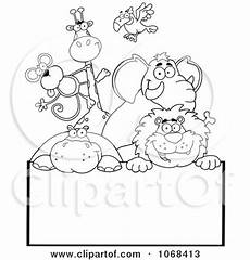 petting zoo animals coloring pages 17213 clipart outlined zoo animals a sign 2 royalty free vector illustration by hit 1068413