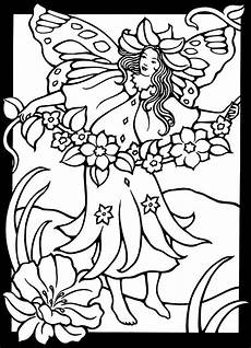 fairies stained glass coloring pages free printable