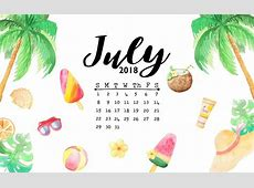 July 2018 Calendar with Floral Background Wallpapers