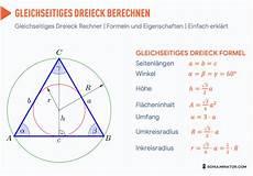 gleichseitiges dreieck formel fl 228 che umfang h 246 he
