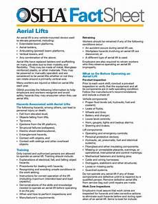 osha aerial lift fact sheet union machinery forklifts