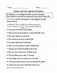 number and color adjectives worksheet adjective
