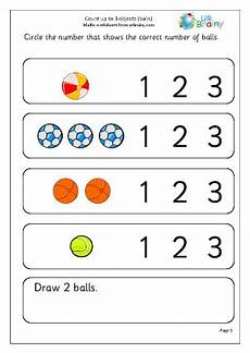 count up to 3 objects balls early counting maths worksheets for early reception age 4 5
