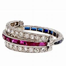 diamond ruby sapphire platinum wedding band ring for sale at 1stdibs