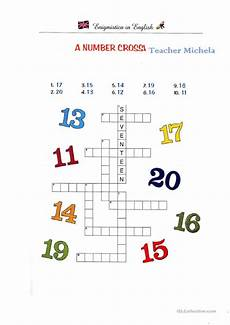 a number crossword worksheet free esl printable