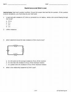 physical science worksheet ohm s answer key 13132 resistance and ohm s grade 9 free printable tests and worksheets helpteaching
