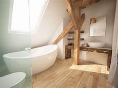 Dachgeschoss Bad Mit Holzbalken Und Freistehender