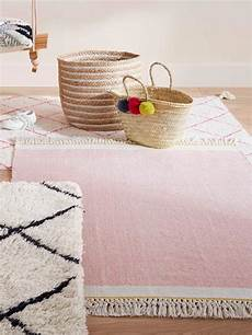 cyrillus teppich mit fransen baumwolle in rosa