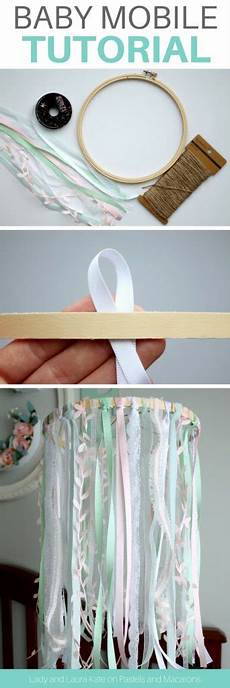 diy baby mobile for crib using embroidery hoop ribbon