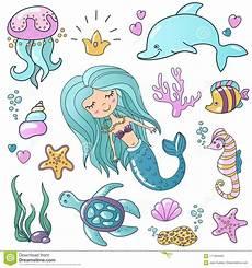 malvorlagen quallen jung marine illustrations set wenig nette