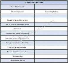 restaurant reservation form sle forms
