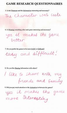 kids game design questionnaire infoplay