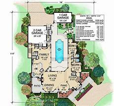 mediterranean house plans with pool plan 36143tx mediterranean with central courtyard