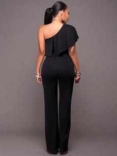 black jumpsuit sleeve one shoulder wide leg
