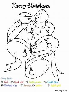 printable christmas bells worksheets color by number pages