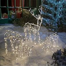 Reindeer Decorations Outdoor by Animated Lighted Reindeer Family Set 3 Yard