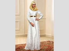 A Line Lace Long Sleeve Muslim Wedding Dress with Gold
