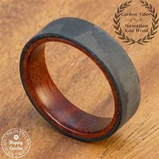 buy a custom carbon fiber ring with inside hawaiian koa wood design made to order from