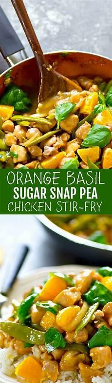 orange basil sugar snap pea chicken stir fry