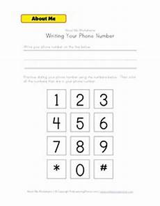 practice sheets for kids name address and phone number work stuff pinterest number