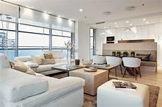 Wohnzimmer Mit Offener Küche - wandfarbe cremewei 223 f 252 r moderne atmosph 228 re wohnzimmer
