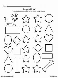 shape maze worksheet 1194 early childhood shapes worksheets myteachingstation