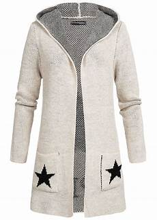 styleboom fashion damen strick cardigan kapuze print