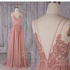 bridesmaid dress blush chiffon boho wedding dress