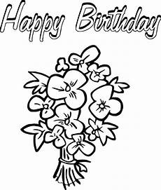 happy birthday flowers coloring page di 2020