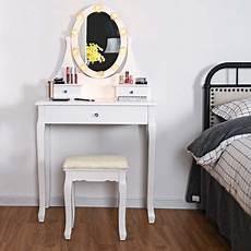 costway schminktisch mit hocker und spiegel frisiertisch