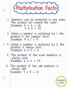 elementary studies multiplication facts