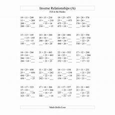 algebra worksheet inverse relationships multiplication and division all inverse