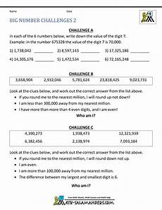 4th grade math worksheets reading writing and rounding big numbers