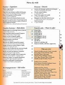 menu traditionnel français restaurant montreal restaurant l 212 menu page 1